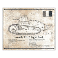 Da Vinci Style Illustration - Renault FT-17 Light Tank Schematic Print - 8x10