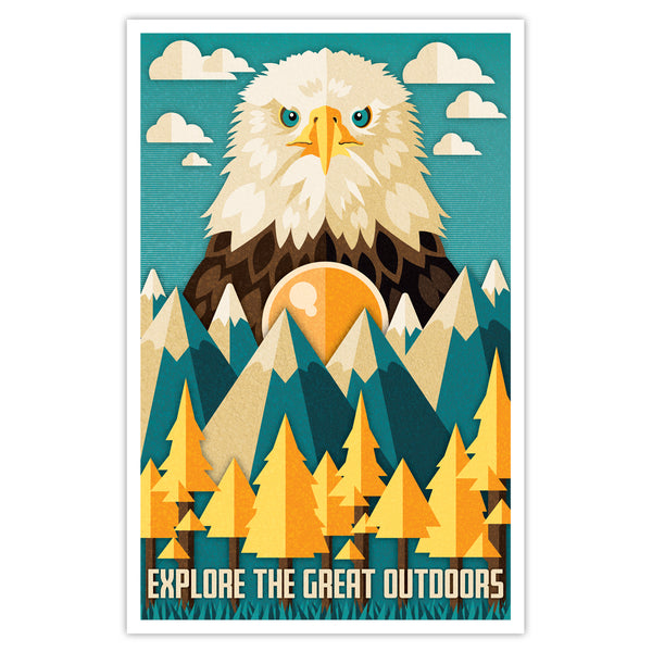 Explore the Great Outdoors - Eagle Print - 11x17