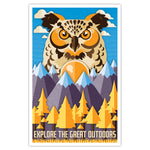 Explore the Great Outdoors - Owl Print - 11x17
