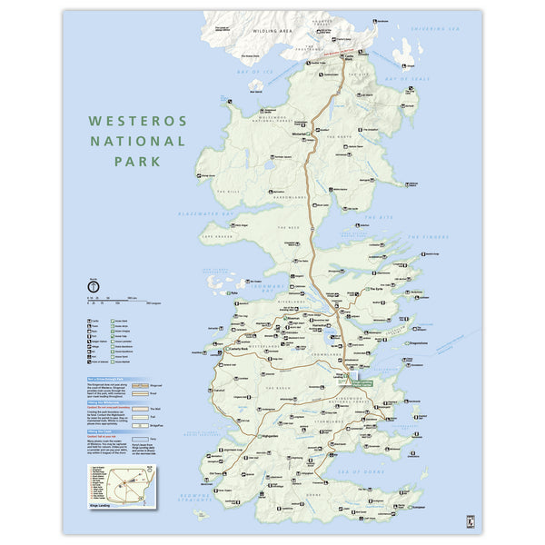 Game of Thrones - Westeros  - National Park Style Map - 16x20