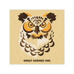 Great Horned Owl - Graphic Icon Print - 8x8