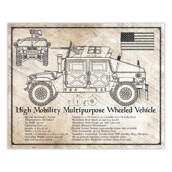 Da Vinci Style Illustration - Humvee M1151 HMMWV Vehicle Print - 8x10