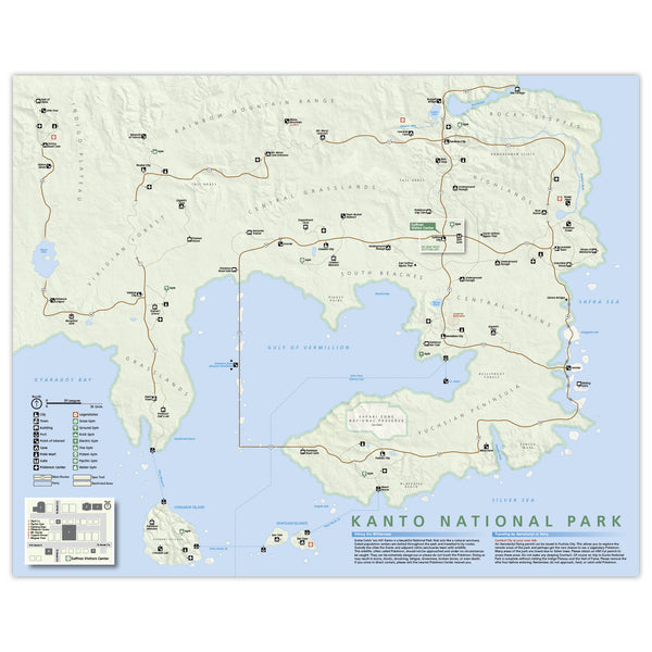 Pokemon Kanto Region - National Park Style Map - 16x20