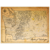 Realms of Washington State - Fantasy Map - 18x24