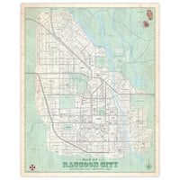 Resident Evil - Raccoon City - Vintage Plat Map - 16x20
