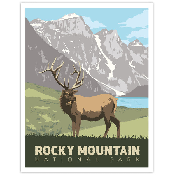 Rocky Mountain National Park Travel Print - Elk in Valley