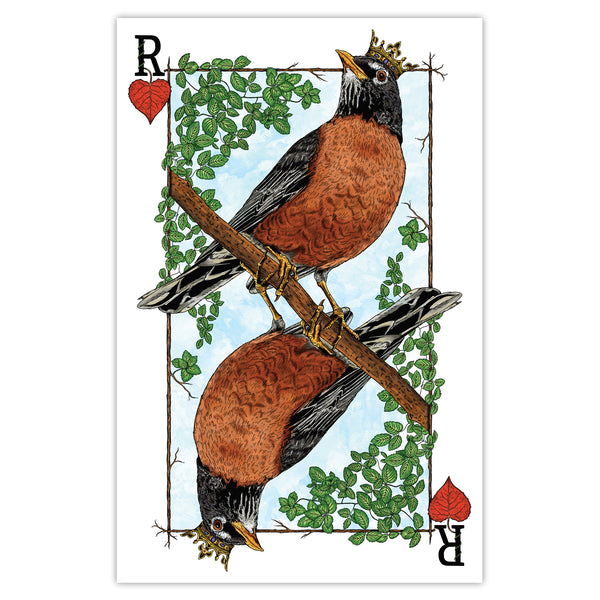 Royal Robin - Playing Card Print - 11x17