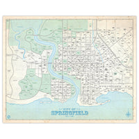 Simpsons - City of Springfield - Vintage Plat Map - 16x20