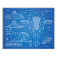 Star Wars - Slave One Attack Fighter Blueprint Schematic Print - 8x10