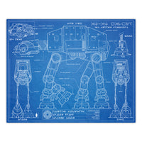 Star Wars - AT-AT Blueprint Schematic Print - 8x10