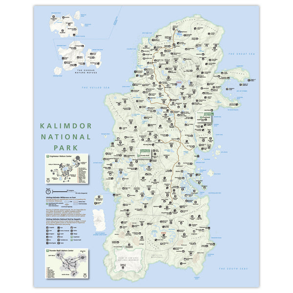WoW - Kalimdor - National Park Style Map - 16x20