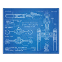 Star Wars - Y-Wing Bomber Schematic Print - 8x10