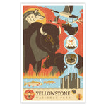 Yellowstone National Park - Graphic Icon Print - 11x17