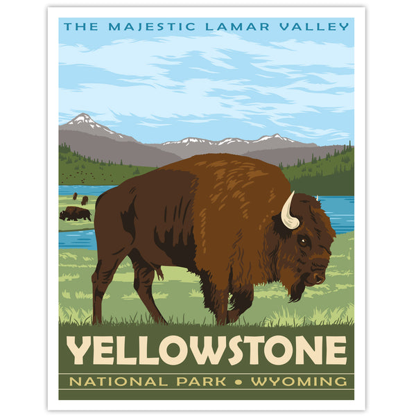 Yellowstone National Park Travel Print - Lamar Valley