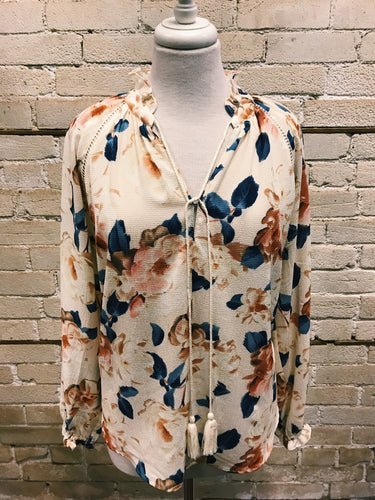 Floral and Cream Blouse