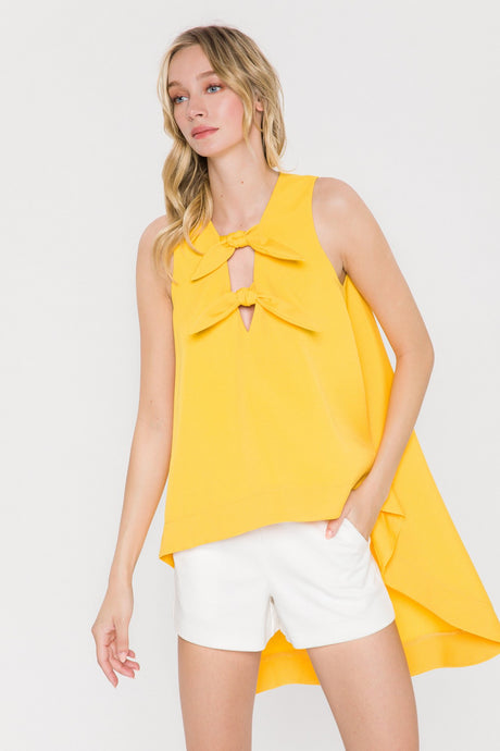 Lemon Ribbon Tie Top