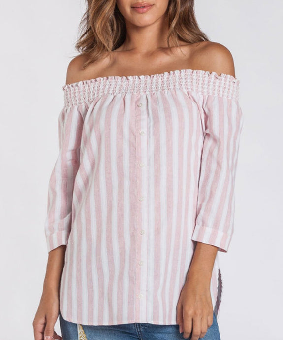 Pink Striped Off Shoulder
