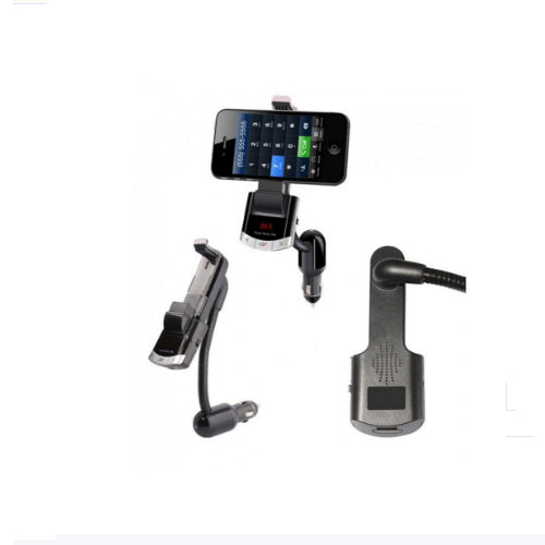 Car Bluetooth Hands-Free MP3 Music Player With Holder Black 10x8x4 centimeter