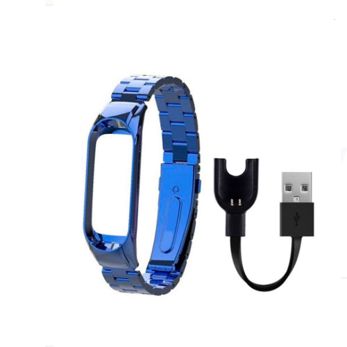 Replacement Strap For Xiaomi Mi Band 3/Mi 3 Band With USB Charger Cable Blue