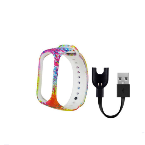 Replacement Strap For Xiaomi Mi Band 3/Mi 3 Band With USB Charger Cable Multicolour