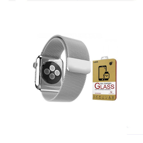 Stainless Steel Milanese Loop Band With Screen Protectors For 38mm Apple Watch Silver