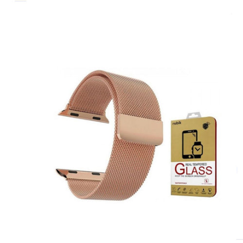 Stainless Steel Milanese Loop Band With Screen Protectors For 38mm Apple Watch Rose Gold 38 millimeter