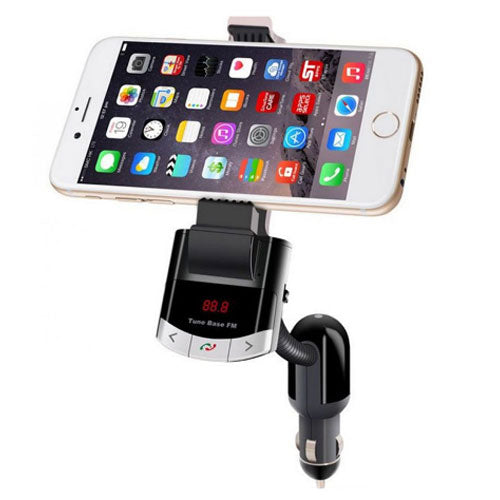 Car Bluetooth Hands-Free MP3 Music Player With Holder Black 9x7.5x4.6 centimeter