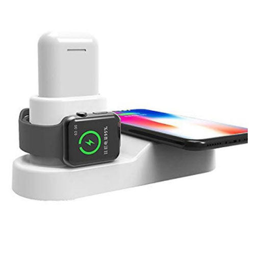 4-In-1 Wireless Charger Charging Stand Dock Station For Apple Watch Edition 38mm (1st Gen)/Apple iPhone XR/Apple AirPods White