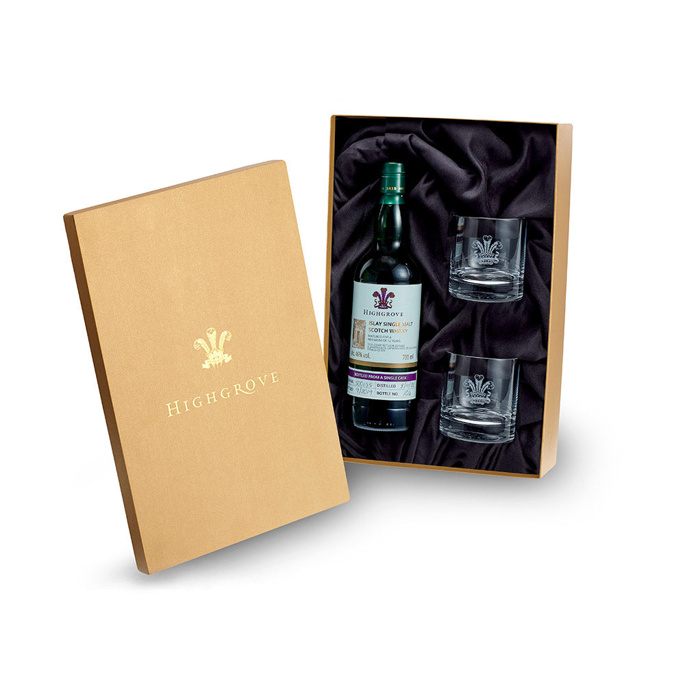 Highgrove Laphroaig 12 Year Old Islay Single Malt Whisky & Two Glass Tumblers Gift Set
