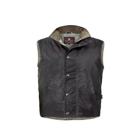 Prince of Wales Check Waxed Cotton Men's Gilet