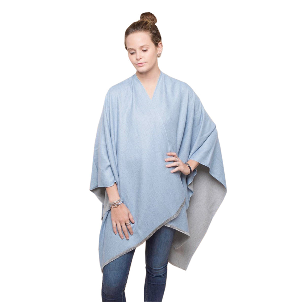 Ladies Blue and Light Grey Reversible Poncho Wrap