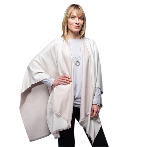 Ladies Cream and Beige Reversible Poncho Wrap