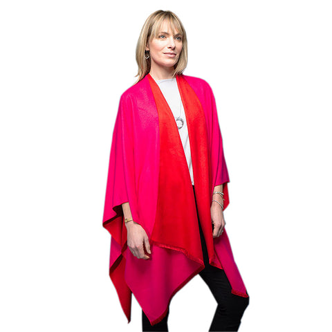 Ladies Scarlett and Fuchsia Reversible Poncho Wrap