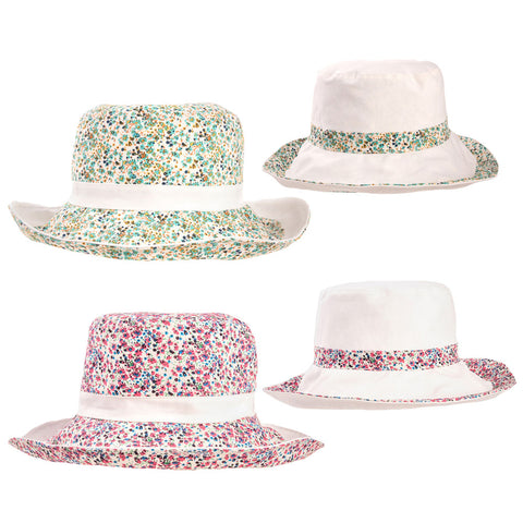 Ladies Reversible Ditsy Floral Sun Hat (Two Colours)