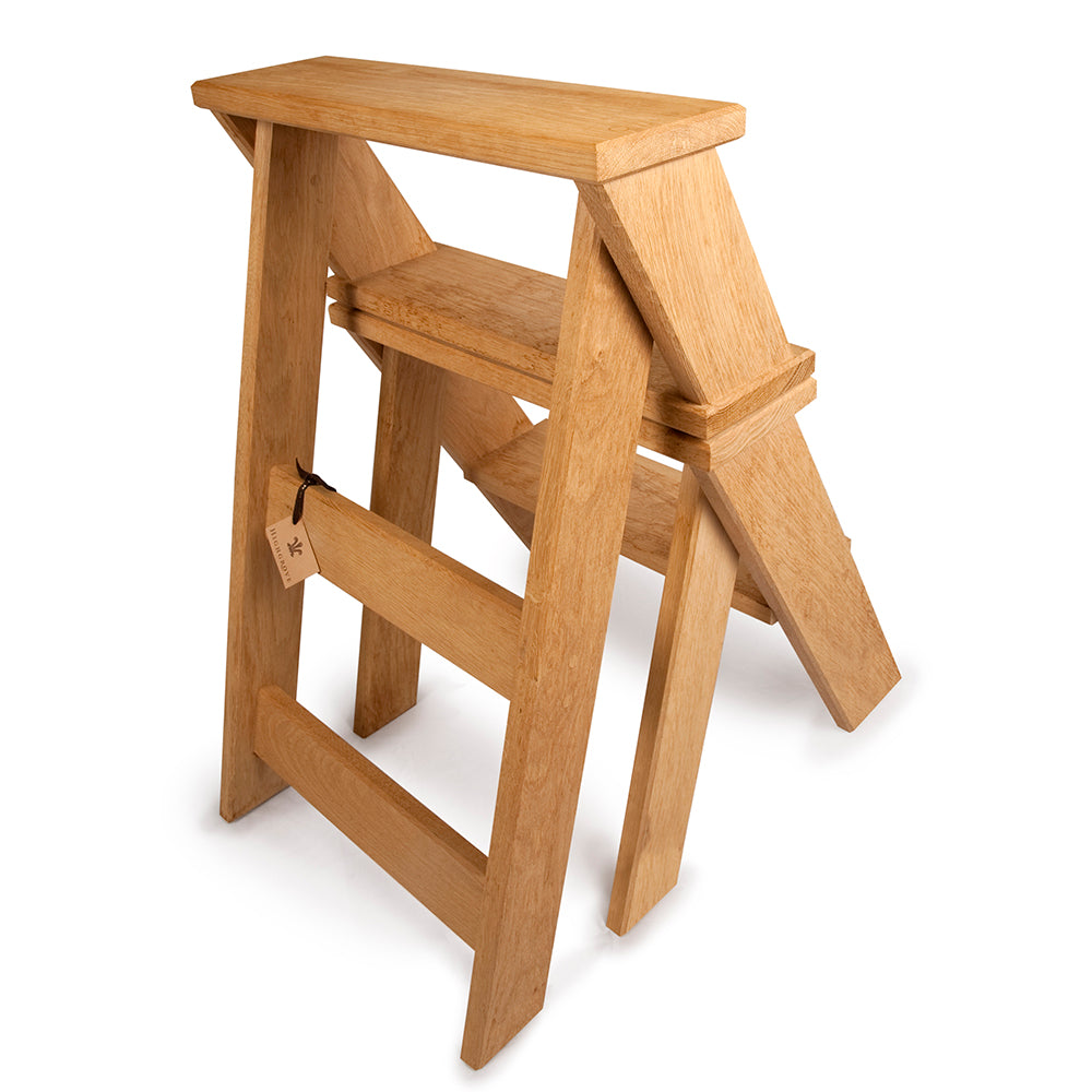 Oak Library Step Chair with Highgrove Logo
