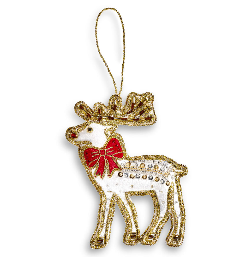 Ivory Deer Hanging Christmas Decoration
