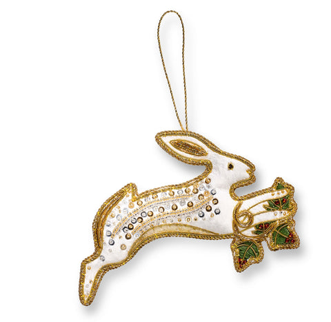 Ivory Winter Hare Christmas Decoration