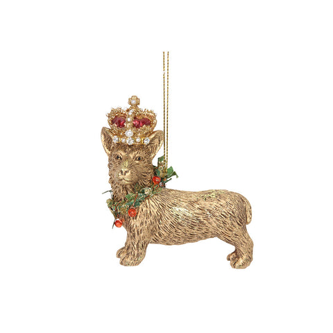 Gold Corgi with Crown Decoration