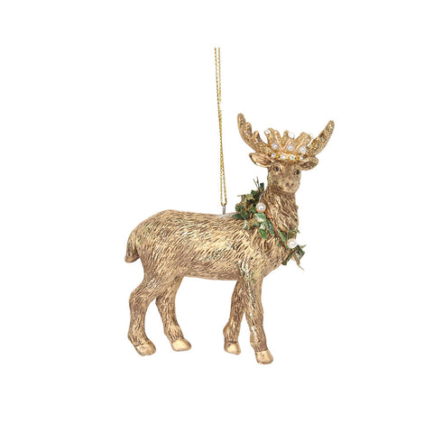 Gold Stag with Crown Decoration