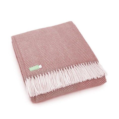 Dusky Pink Lambswool Throw