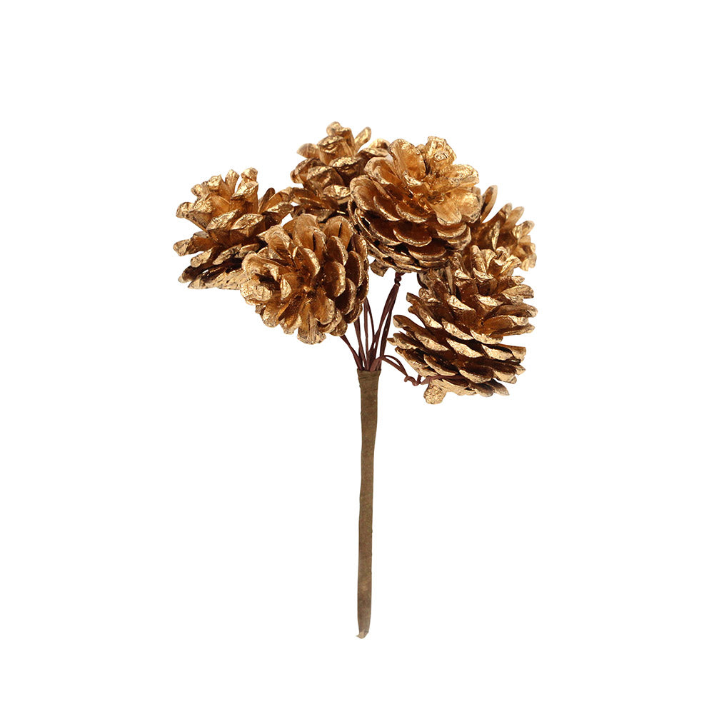 Golden Pine Cone Stick Decoration