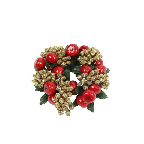 Red and Gold Glitter Berry Candle Ring (Small)