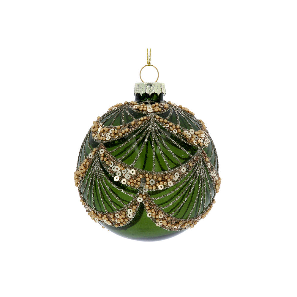 Clear Green Bauble with Sequins