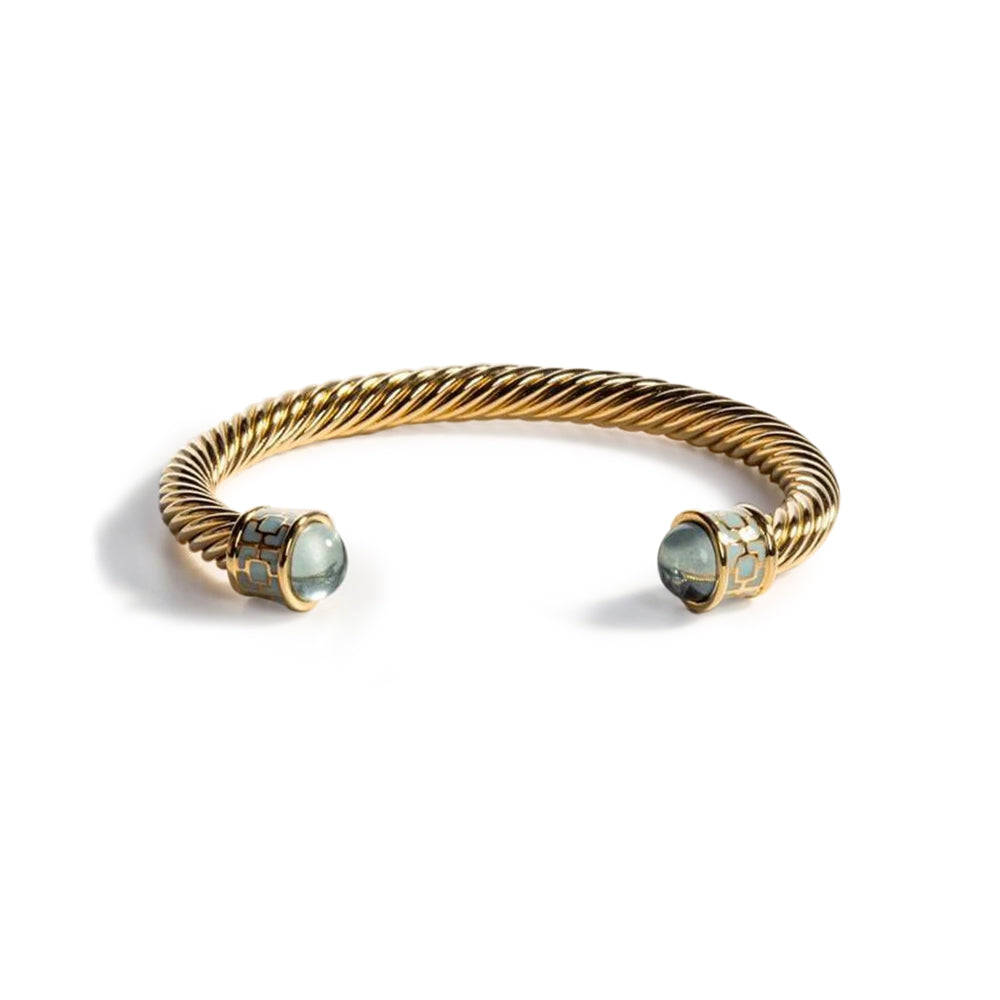 Aquamarine and Gold Maya Bangle