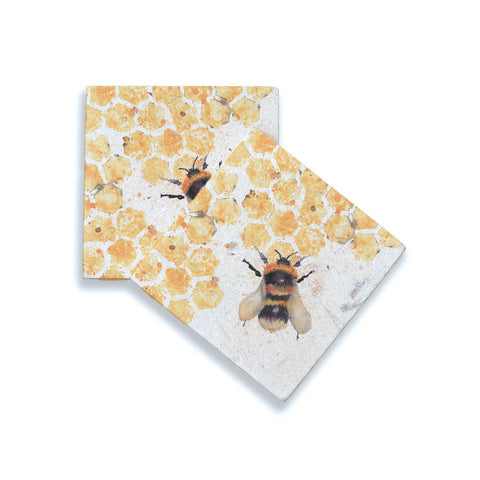 Marble Bee Coasters - Set of Two