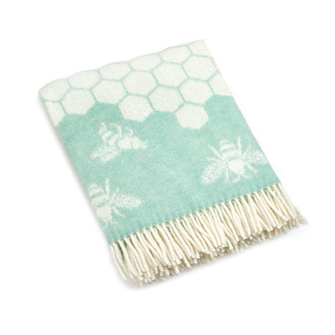 Soft Green Lambswool Bee Throw