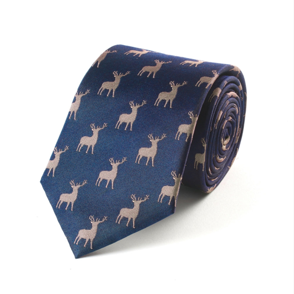 Navy Woven Stag Tie