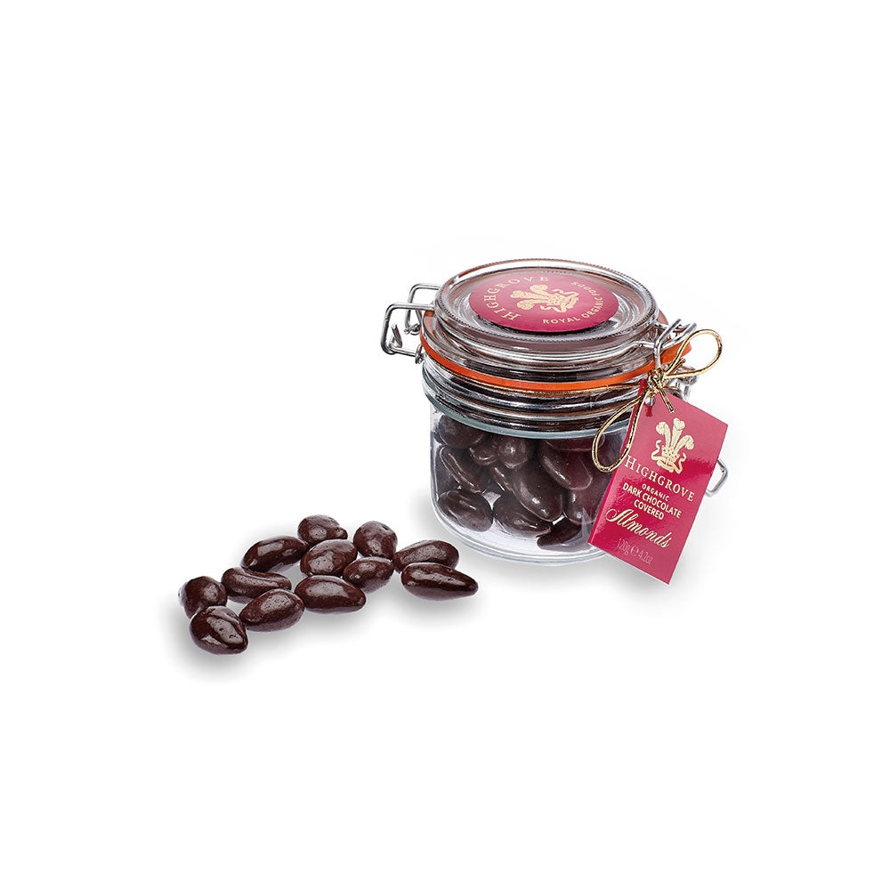 Jar of Organic Dark Chocolate Covered Almonds