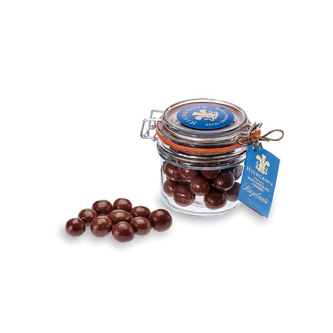 Jar of Organic Milk Chocolate Covered Hazelnuts