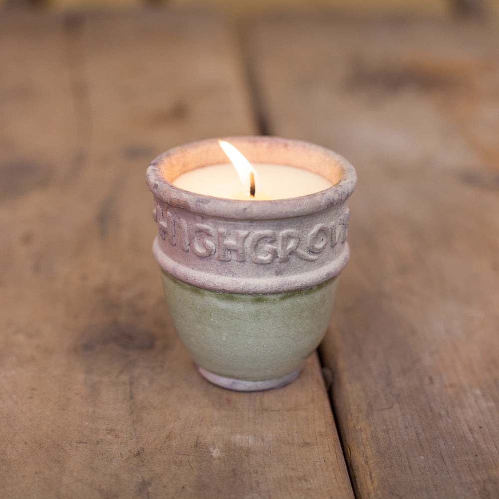 Ivory Lettered Candle Pot